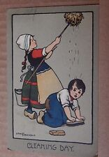 Postcard Artist Signed Ethel Parkinson Cleaning day posted 1917