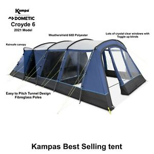 Kampa Croyde 6 - 2021 Model - 6 Berth Poled Tent - Ideal for family camping!