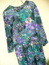 Vtg Autumn Purple Floral Geo Mixed Print 90S S M Pansy Spring Green Women Dress