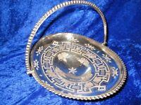 Antique Meriden B Beaded Greek Key & Floral  BRIDES Cake BASKET Silver Plate