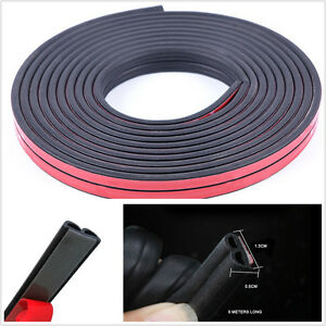 5M Black B-Type Waterproof Car SUV Door Edge Trim Seal Strip Seal Rubber Strips