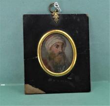 Antique 18 / 19 c Portrait Miniature of Arabic Man in Red Turban 6.5 x 5.5 cm