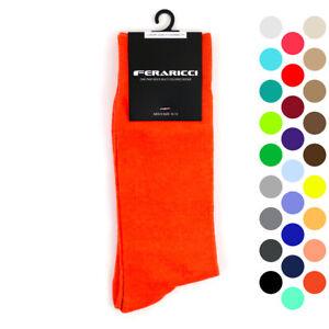 Feraricci Men Bold Colorful Solid Crew Casual Dress Socks Size 10-13 Shoe 8-12