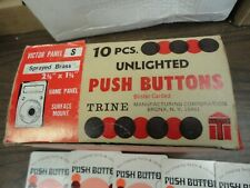 """Lot of 10"" Trine # Victor Panel S Unlighted Sprayed Brass Push Buttons - N.O.S."