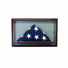 Glass Cabinet Flag Display Case for 9.5' x 5' Flag - Real Glass, Real Wood