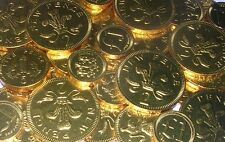 100 x CHOCOLATE BRITISH COINS, GOLD FOIL, 2p, 5p, 10p, £1 TREASURE HUNT, PARTY