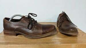 Bertie Men's Brown Leather Derby Lace-Up Shoes - Euro Size 41 // UK Size 7.5