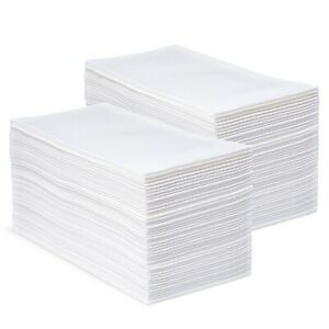 CrossbridgePro - White Disposable Soft Linen Feel Napkins and Hand Towels 100ct