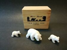Star Marble Stone Hand Carved Grizzly Bear Family CRYSTALLINE LIME STONE COA