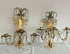 Gorgeous Vintage Pair Gilt Iron Wall Candle Sconces Italy Gothic Spanish Revival