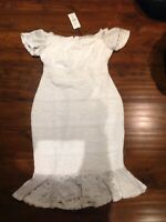 Women's Lipsy White Lace Bardot Flute Hem Dress Size 12