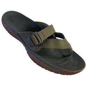 Keen SOLR Mens Flip Flop Sandals Army Green Brown Water Resist Slip Ons Size 12