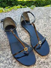 Gucci sandali decollete pelle bassi infradito  cinturino shoes vernice leather