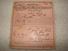 1913 Indiana Resident Hunter's And Fishing License