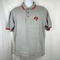 Vintage Tampa Bay Buccaneers Mens Large Golf Polo Gray Embroidered Shirt 2000 L