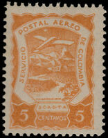 ✔️ COLOMBIA SCADTA 1921 - AIRPLANE OVER RIVER - SC. C25 ** MNH [SCDT10]
