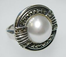 Vintage DECO Style Sterling, Marcasite & Pearl Ring US size 5.5