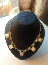 White Rectangle Shell  With Gems Necklace