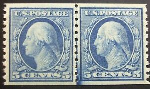 US Scott #496a, 5cent Wash. coil line pair.  Small Holes!  MVLH,  PSE grade 85!