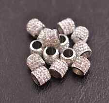 10pcs Big Hole Crystal Rhinestone Pave Rondelle Spacer Beads Fit European Charms