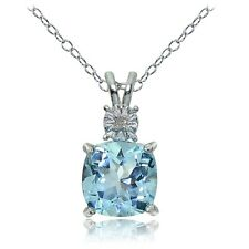Sterling Silver Blue Topaz and Diamond Accent Cushion-cut Necklace
