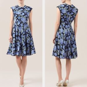 HOBBS FLORENCE BLUE FLORAL SILK CHIFFON 50'S FIT FLARE MIDI DRESS 12 £159 TWICE