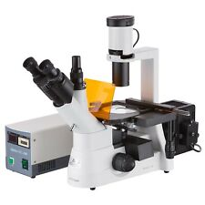 Amscope 40x 1000x Phase Contrast Inverted Fluorescent Microscope 3mp Camera