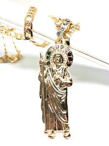 "San Judas Tadeo Gold P Saint Jude Pendant Necklace Chain Cadena 26"" Oro Laminado"