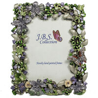 Bejeweled butterfly in garden photo frame, enamel painted with crystals