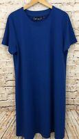 Susan Graver Ponte knit swing dress womens 1X blue scoop Neck short Sleeve AO