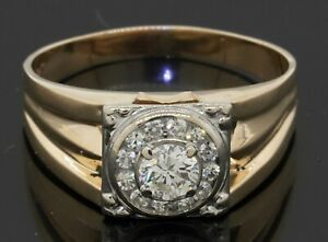 Heavy 14K 2-tone gold .74CTW VS diamond halo men's ring w/ .50CT ctr. size 12.75
