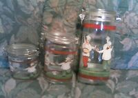 Vintage Glass Fat Chef Hinged Oval Storage Canister Jars 3 PC. Set