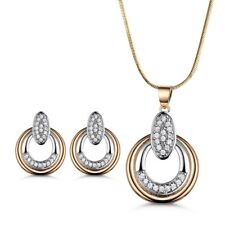 Fashion Dangle Ring Gold Filled Swarovski Crystal Necklace Earrings Jewelry SET