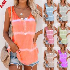 Ladies Womens Sleeveless Tie Dye Tank Tops Summer Blouse Loose Button Vest Shirt