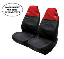 Universal Front Car Seat Covers Sporty Red / Black Waterproof Airbag Compatible