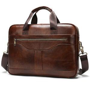 """Vintage Mens Genuine Leather Messenger Bags Handbag 14"""" Laptop Satchel Briefcase"""
