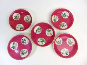 Five Chinese Antique Porcelain Saucers, Qianlong Mark, RepublicThe LAST BATCH