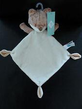 Doudou plat Ours Tex losange Blanc Beige 32 cm (d5)
