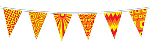Hippy Festival Polyester Bunting - 5m with 12 Flags - Red and Yellow