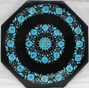 18 Inches Marble Corner Table Top Inlay with Turquoise Stone Art Coffee Table