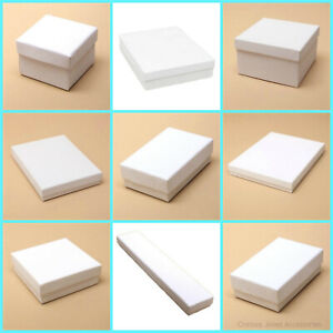 12 x White Gift Boxes Jewellery Earring Necklace Pendant Boxes Wedding Favours