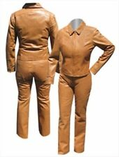Scully Western Pants Womens Size 8 Fitted Leather Pants Lined Saddle Tan $89.96