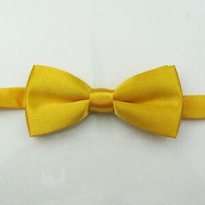 Boys Children kids Solid Bowtie Pre tied Wedding Party satin bow tie