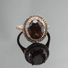 LE VIAN SMOKEY TOPAZ & 0.85 CT. COGNAC / WHITE DIAMOND RING 14K ROSE GOLD US8