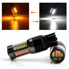 2x 7443 T20 LED 66-SMD Switchback Dual Color White Amber Turn Signal Light Bulbs