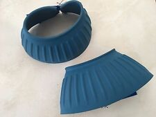 Sims Ribbed Rubber Bell Boots with Velcro - No. 3 Blue Pair - Horse/Equestrian