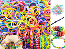 1800 COLOURFUL RAINBOW RUBBER LOOM BANDS BRACELET MAKING KIT W COLOURED S CLIPS