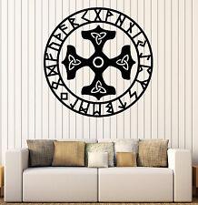 Wall Vinyl Decal Runes Circle Thor Hammer Meditation Salon Living room z4624