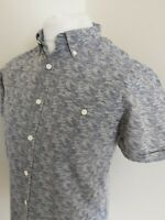 Mens Barbour Camo Squadron Shirt Grey Small 38 Chest Short Sleeve