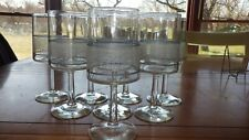 Glass Water Glasses Goblets Stems White filigree design gray line round stem 8